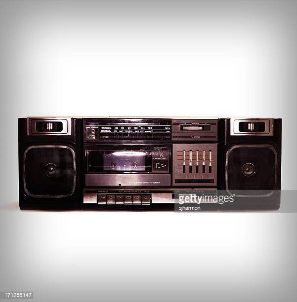 intense black boombox centered with white background and fade border