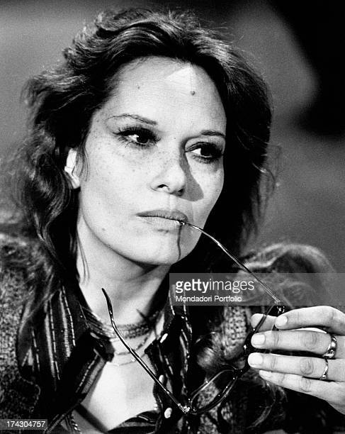 Intense closeup of the Italian actress Lea Massari holding eyeglasses in her left hand Milan 1972