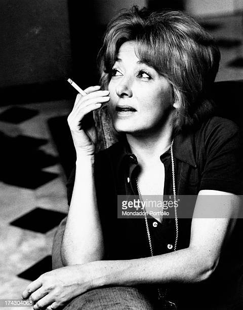 Intense closeup of the Italian film theatre and television actress Lauretta Masiero with a cigarette in her fingers Milan 1972