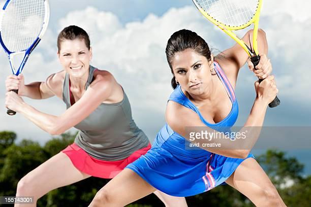 Intense Female Tennis Team