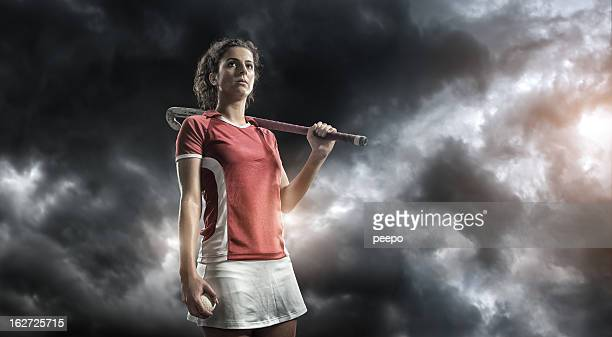 Intense Field Hockey Player