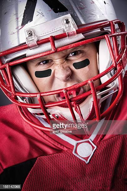 Intense Little League Football Portrait