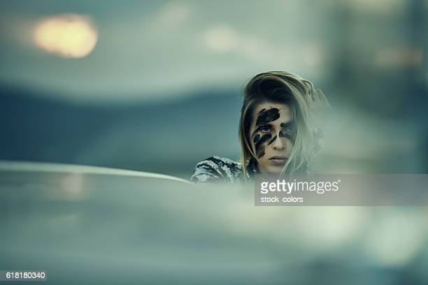 intense look of warrior woman