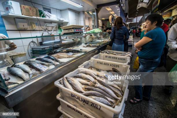 Intense movement of consumers in search of fish in the Fish Market in Sao Paulo Brazil on the morning of Thursday 13 April the eve of the Good Friday...