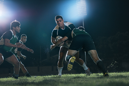 Intense rugby action at sports arena 1058831238