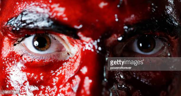 intense stare - bloody gore stock pictures, royalty-free photos & images