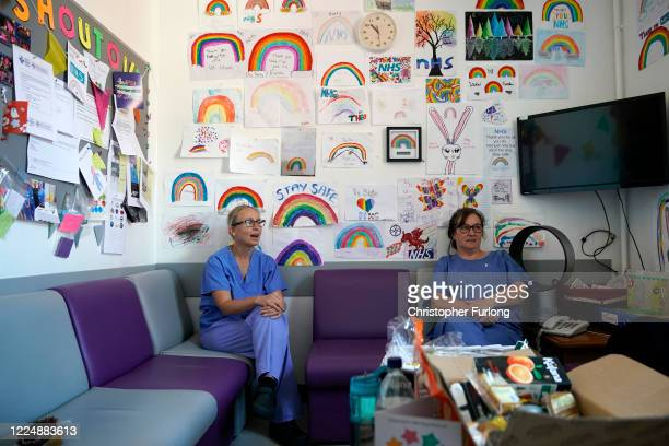 Intensive Care Unit staff at Wrexham Maelor Hospital take a short rest in their breakout room where white goods kitchen and refreshments have been...