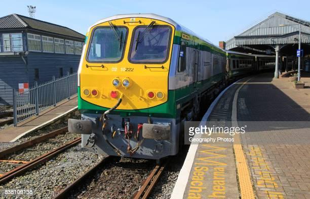 Inter city train at railway station platform, Cork, County Cork, Ireland, Irish Republic.
