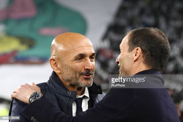 Inter coach Luciano Spalletti talks with Juventus coach Massimiliano Allegri during the Serie A football match n16 JUVENTUS INTER on 9 December 2017...