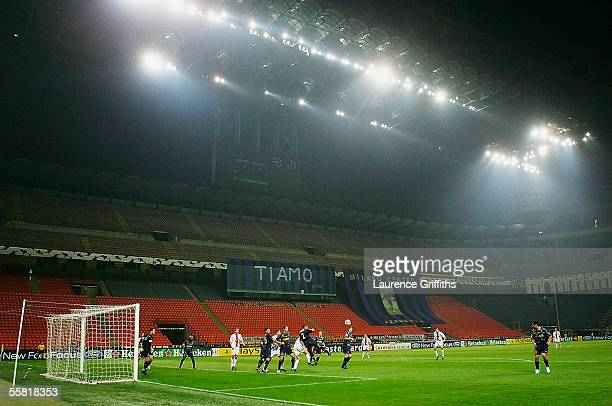 Inter defend a corner in front of an empty San Siro after a UEFA Ban on supporters attending during the UEFA Champions League Group H match between...