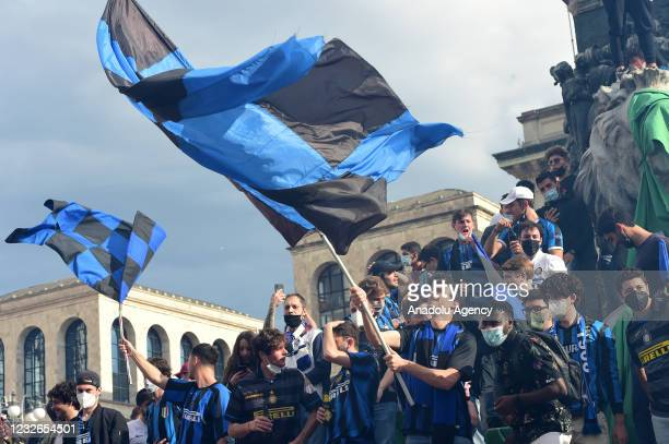 Inter fans celebrate the victory of the 19th Serie A football championship in Piazza del Duomo, in Milan, Italy on May 02, 2021. Inter Milan were...