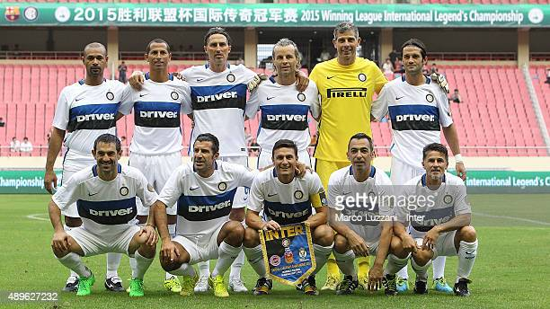 Inter Forever team line up before The 2015 Winning League International Legends Championship match between Inter Forever v Barcelona at Hangkou...