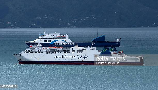 Inter Island ferries are anchored in the harbour awaiting repairs to the loading ramps in Wellington after a 78 earthquake struck the South Island on...