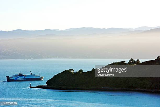 inter island ferry crossing wellington harbour. - ferry stock pictures, royalty-free photos & images