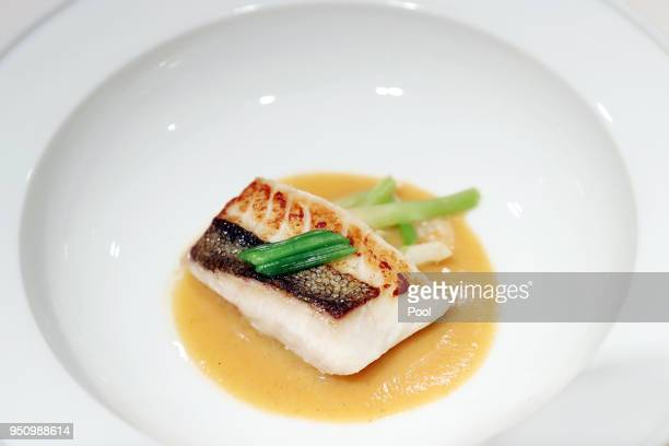 Inter Korean Summit dishes John dory fish is seen on April 25 2018 in Seoul South Korea