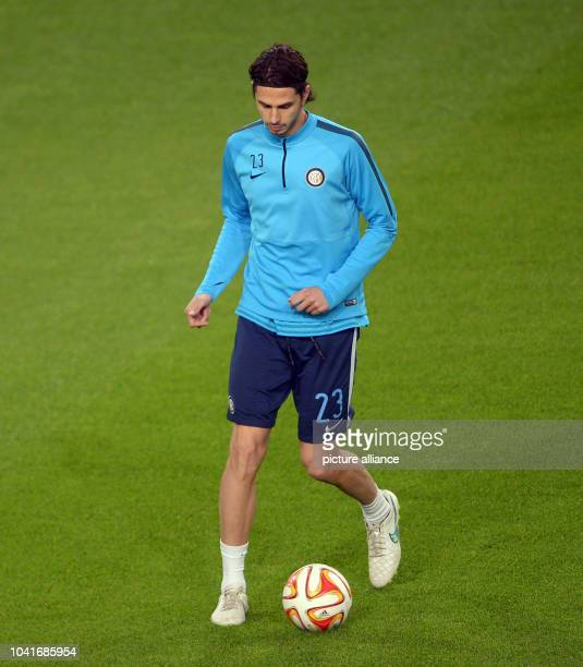 Inter Mailand's Andrea Ranocchia is training in the Volkswagen arena in Wolfsburg Germany 11 March 2015 VfLWolfsburg encounters Internationale...