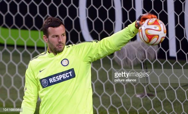 Inter Mailand's goal keeper Samir Handanovic is training in the Volkswagen arena in Wolfsburg Germany 11 March 2015 VfLWolfsburg encounters...