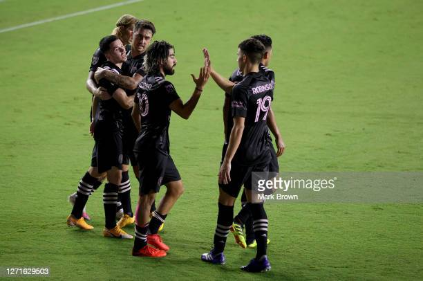 Inter Miami CF celebrates a goal by Lewis Morgan during a game against Atlanta United FC at Inter Miami CF Stadium on September 09, 2020 in Fort...