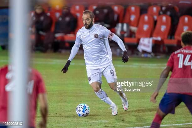 Inter Miami CF forward Gonzalo Higuain dribbles up field during the game between FC Dallas and Inter Miami CF on October 28, 2020 at Toyota Stadium...