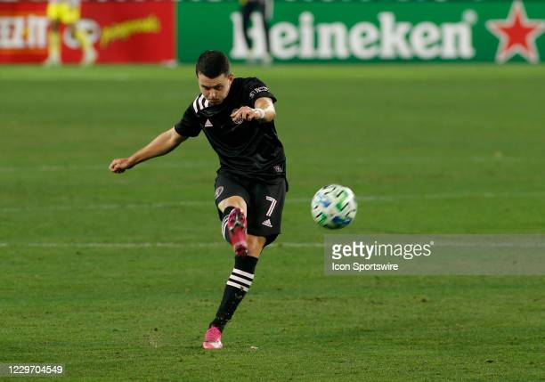 Inter Miami midfielder Lewis Morgan kicks a ball during an MLS Cup Playoffs Eastern Conference Play-In game between Nashville SC and Inter Miami,...