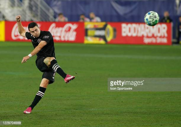 Inter Miami midfielder Lewis Morgan takes a free kick during an MLS Cup Playoffs Eastern Conference Play-In game between Nashville SC and Inter...