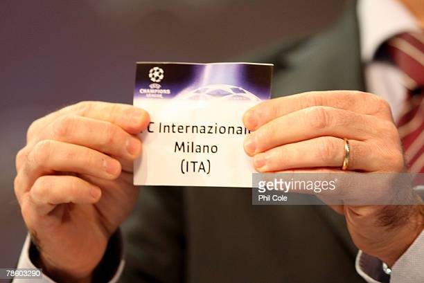 Inter Milan are drawn during the UEFA Champions League Knock out Round draw at the UEFA headquarters on December 21, 2007 in Nyon, Switzerland.
