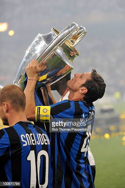 Inter Milan captain Javier Zanetti holds aloft the trophy after winning the UEFA Champions League Final match between Bayern Munich and Inter Milan...