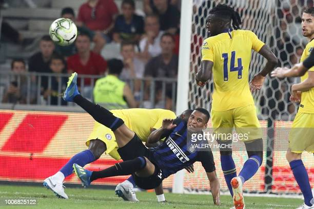 Inter Milan Estevao Dalbert shoots the ball during the friendly football match between Chelsea vs Inter Milan on July 28 2018 at the Allianz Riviera...