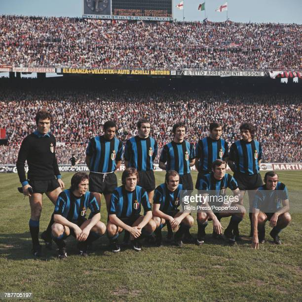 Inter Milan Football Club squad players posed together prior to a Serie A match at the San Siro stadium in Milan Italy in 1972 The team are back row...