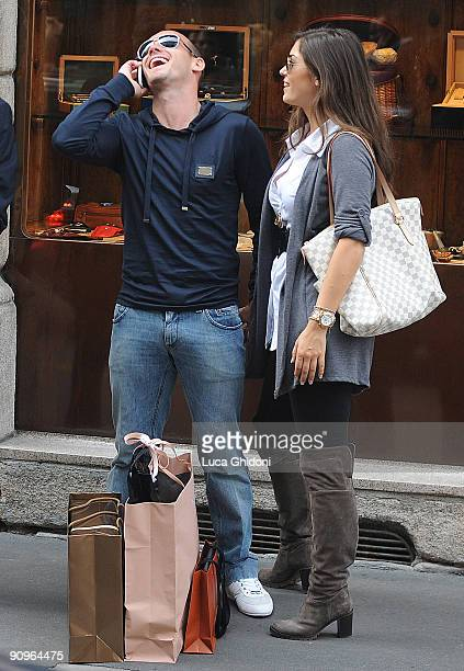 Inter Milan football player Wesley Sneijder and Yolanthe Cabau van Kasbergen are seen shopping on September 18 2009 in Milan Italy