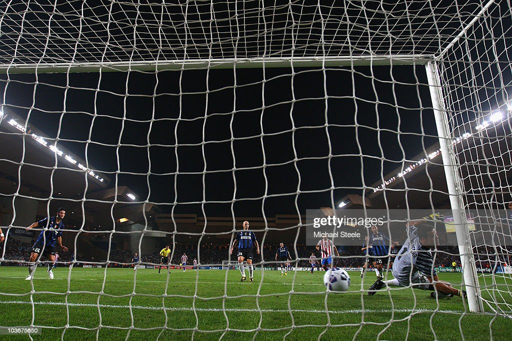 Inter Milan goalkeeper Julio Cesar is beaten at his near post to concede the opening goal scored by Jose Antonio Reyes (out of frame) during the UEFA Super Cup match between Inter Milan and Atletico Madrid at Louis II Stadium on August 27, 2010 in Monaco, Monaco.