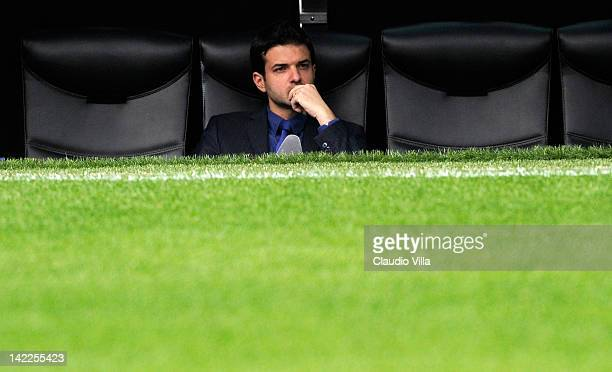 Inter Milan head coach Andrea Stramaccioni looks on from the dugout during the Serie A match between FC Internazionale Milano and Genoa CFC at Stadio...