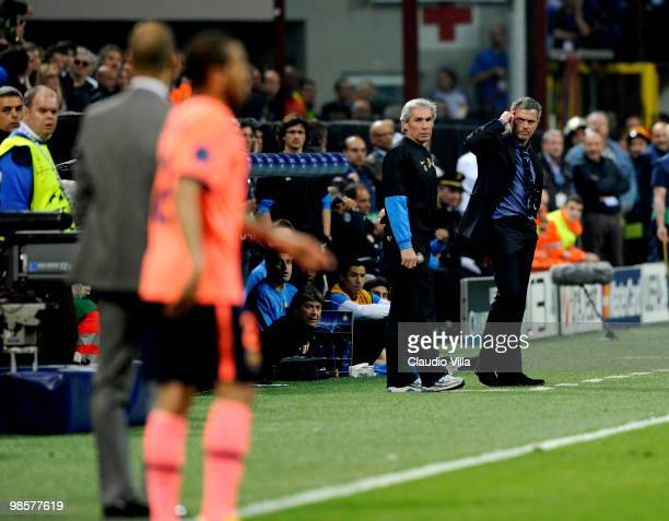 Inter Milan Head Coach Jose Mourinho and Barcelona Head Coach Josep Guardiola during the UEFA Champions League Semi Final First Leg match between...