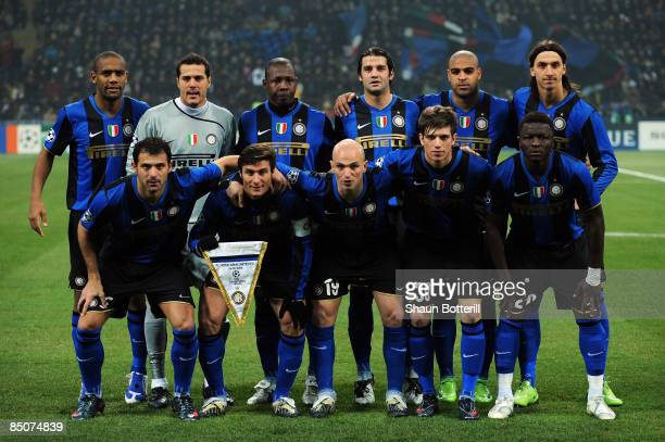 Inter Milan line up during the UEFA Champions League Round of Last 16 First Leg match between Inter Milan and Manchester United at the San Siro...