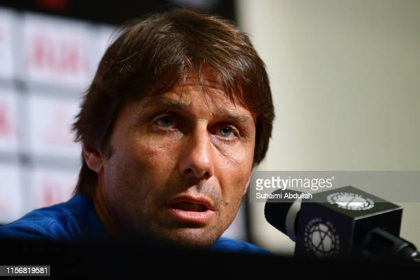 Inter Milan manager, Antonio Conte speaks at the press conference during the 2019 International Champions Cup match between Manchester United and FC...