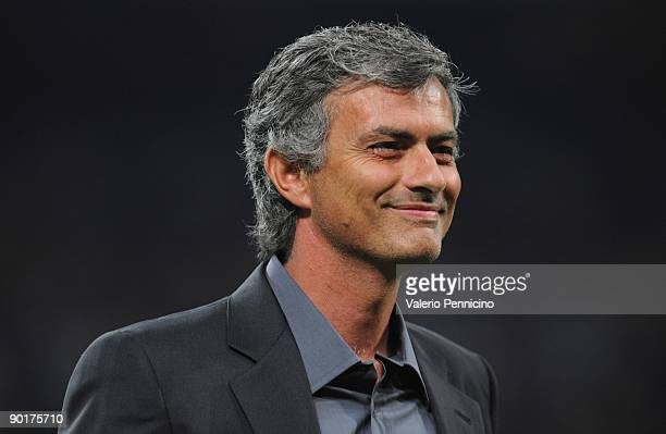 Inter Milan Manager Josè Mourinho smiles during the Serie A match between AC Milan and Inter Milan at Stadio Giuseppe Meazza on August 29 2009 in...
