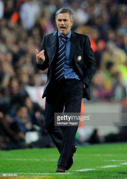 Inter Milan manager Jose Mourinho gestures during the UEFA Champions League Semi Final Second Leg match between Barcelona and Inter Milan at Camp Nou...