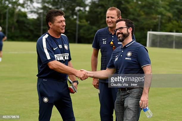 Inter Milan Michael Williamson and Coach Walter Mazzarri attend a FC Internazionale Milano training session on July 23 2014 in Washington United...