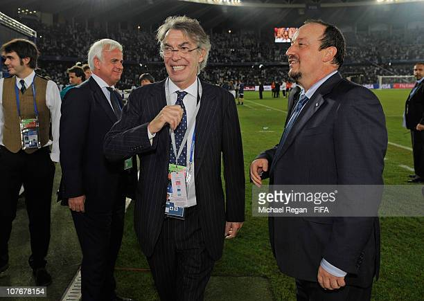 Inter Milan owner Massimo Moratti celebrates with head coach Rafael Benitez after winning the FIFA Club World Cup Final between TP Mazembe Englebert...