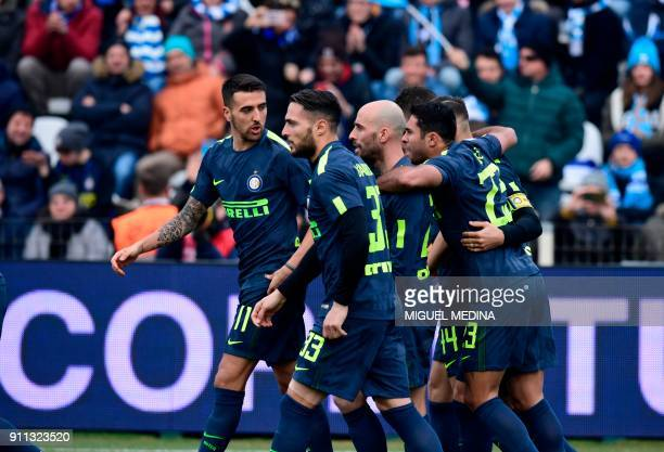 Inter Milan players celebrate after scoring during the Italian Serie A football match Spal vs Inter Milan at the Paolo Mazza stadium in Ferrara on...
