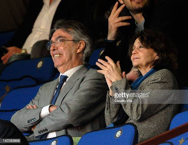 Inter Milan president Massimo Moratti and Milly Moratti during the Serie A match between FC Internazionale Milano and Genoa CFC at Stadio Giuseppe...