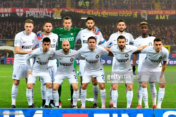 Inter Milan team players Portuguese defender Joao Cancelo Spanish midfielder Borja Valero Italian forward Eder Italian midfielder Antonio Candreva...