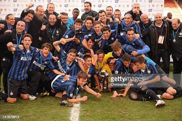 Inter Milan U19 celebrate with the trophy during the NextGen Series Final between Ajax U19 and Inter Milan U19 at Matchroom Stadium on March 25 2012...