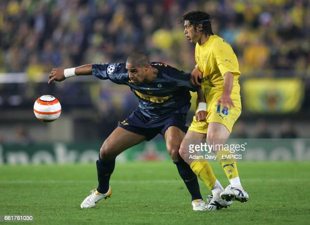 Inter Milan's Adriano gets the better of Villarreal's Alessio Tacchinardi