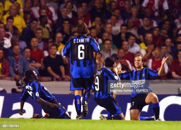 Inter Milan's Andy van der Meyde celebrates scoring the second goal against Arsenal