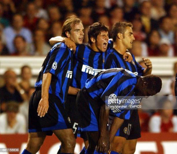 Inter Milan's Andy van der Meyde celebrates scoring their second goal against Arsenal