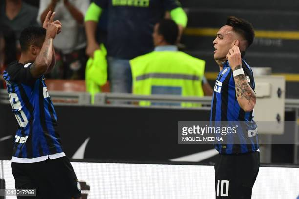 Inter Milan's Argentine forward Lautaro Martinez celebrates after opening the scoring during the Italian Serie A football match Inter Milan vs...