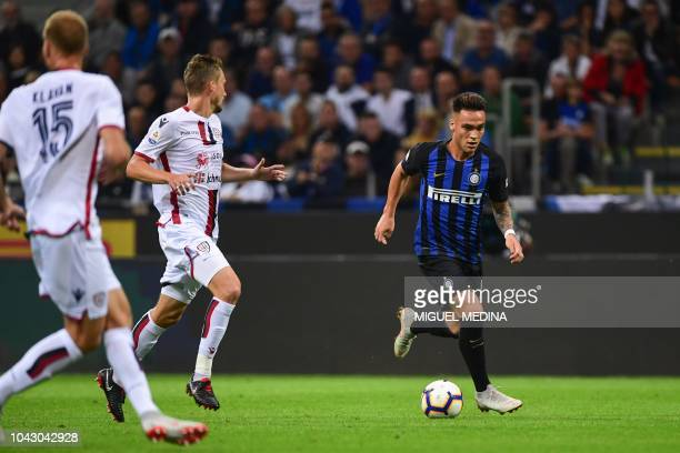 Inter Milan's Argentine forward Lautaro Martinez controls the ball during the Italian Serie A football match Inter Milan vs Cagliari on September 29...