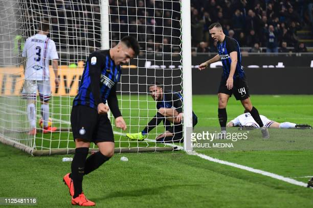 Inter Milan's Argentine forward Lautaro Martinez Inter Milan's Italian defender Danilo D'Ambrosio and Inter Milan's Croatian midfielder Ivan Perisic...