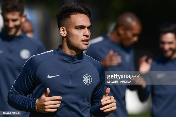 Inter Milan's Argentine forward Lautaro Martinez takes part in a training session on October 2 2018 at the Appiano Gentile training ground near Como...